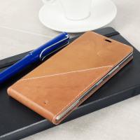 Mozo Microsoft Lumia 950 Flip Cover Tasche in Cognac