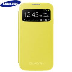 Genuine Samsung Galaxy S4 S-View Premium Cover Case - Yellow