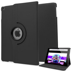 Rotating Leather Style Stand Case for iPad Air - Black