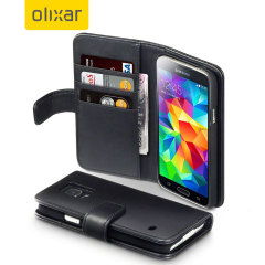 Encase Galaxy S5 / S5 Neo Ledertasche WalletCase in Schwarz