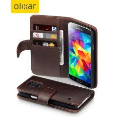 Encase Galaxy S5 / S5 Neo Ledertasche WalletCase in Braun