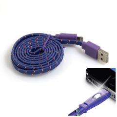 Happy Braided Light-up 1m Lightning Cable - Purple