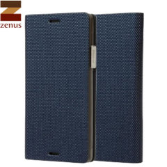 Zenus Samsung Galaxy Note 4 Metallic Diary Stand Hülle in Navy Blue