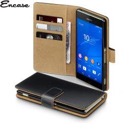 Encase Leather-Style Sony Xperia Z3 Wallet Case - Black / Tan