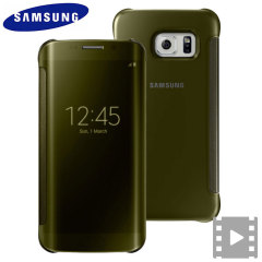 Official Samsung Galaxy S6 Edge Clear View Cover Case - Gold