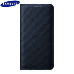 Official Samsung Galaxy S6 Edge Flip Wallet Fabric Cover - Blue/Black