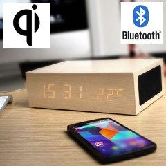 Olixar AU Qi-Tone Alarm Clock Bluetooth Charging Speaker - Light Wood