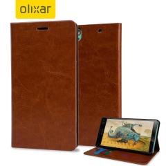 Olixar Sony Xperia C4 Kunstledertasche Wallet Stand Case in Braun