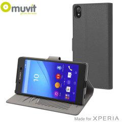 Muvit Slim S Folio MFX Sony Xperia Z5 Premium Tasche in Silber Grau