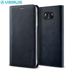 Verus Samsung Galaxy S6 Edge Plus Genuine Leather Wallet Case - Navy
