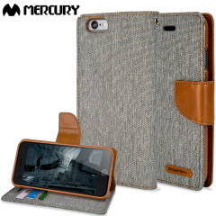 Mercury Canvas Diary iPhone 6S / 6 Wallet Case Hülle in Grau / Camel