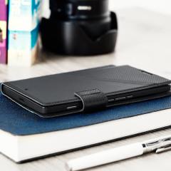 Mozo Microsoft Lumia 950 XL Genuine Leather Wallet Flip Cover - Black