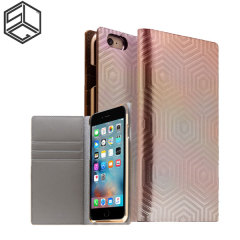 SLG Hologram Genuine Leather iPhone 6S / 6 Wallet Case - Rose Gold