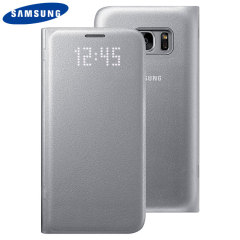 Original Samsung Galaxy S7 LED Flip Wallet Cover Tasche in Silber