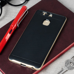 Bumper Frame Huawei P9 Case Hülle mit Carbon Fibre Design in Gold