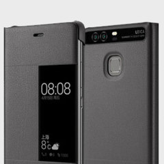 Original Huawei P9 Smart View Flip Case Tasche in Dunkel Grau