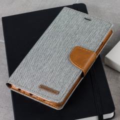 Mercury Canvas Diary Huawei P9 Wallet Case Hülle in Grau / Camel
