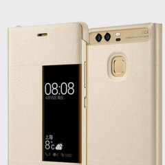 Original Huawei P9 Plus Smart View Flip Case Tasche in Gold