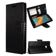 Zizo Carbon Fibre Style HTC 10 Wallet Case - Black