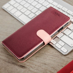 Hansmare Calf iPhone 7 Plus Wallet Case Hülle in Wine Pink