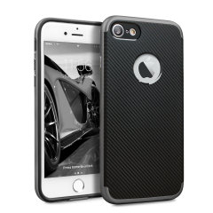 Olixar X-Duo iPhone 8 / 7 Hülle in Carbon Fibre Metallic Grau