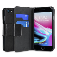Olixar Leather-Style iPhone 8 / 7 Wallet Stand Case - Black