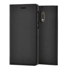 Official Nokia 6 Slim Flip Wallet Case - Black