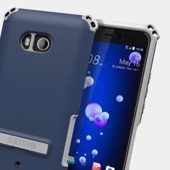 Seidio Dilex HTC U11 Hülle mit Standfuß - Mitternachtsblau / Grau