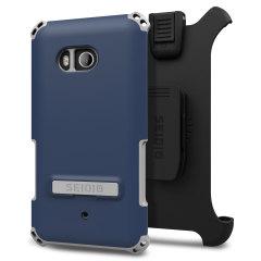 Seidio Dilex HTC U11 Hülle mit Standfuß &Holster - Blau / Grau