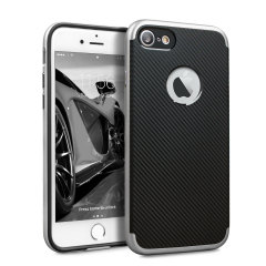 Olixar X-Duo iPhone 7S Hülle in Carbon Fibre Metallic Silber
