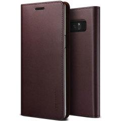 VRS Design Echte Leder Tagebuch Samsung Galaxy Note 8 Hülle  - Wein