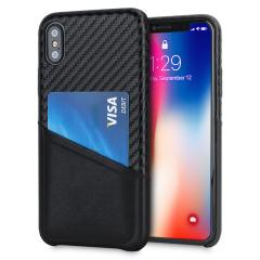 Olixar iPhone X Carbon Fibre Card Pouch Case - Black