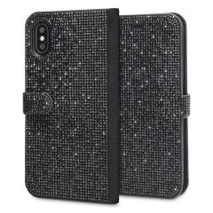 LoveCases Luxury Diamond iPhone X Wallet Case - Black