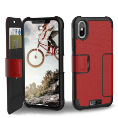 UAG Metropolis Rugged iPhone X Wallet case Tasche in Magma Rot