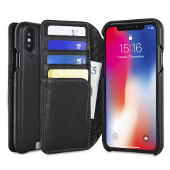 Vaja Wallet Agenda iPhone X Premium Leather Case - Black
