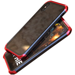 Luphie Tempered Glass and Metal iPhone X Bumper Case -  Red / Black