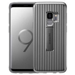 Offizielle Samsung Galaxy S9 schützende stehende Cover Hülle - Silber
