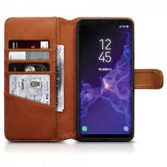 Olixar Samsung Galaxy S9 Plus Ledertasche WalletCase - Cognac