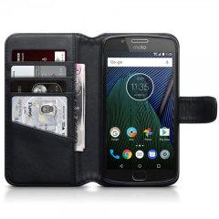 Motorola Moto G5 Genuine Leather Wallet Case - Black