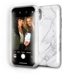 LuMee Duo iPhone X doppelseitige Beleuchtungshülle - Weißer Marmor