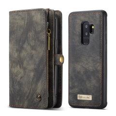 Luxuriöses Galaxy S9 Plus Leder-Stil 3-in-1 Geldbörse Hülle – Schwarz