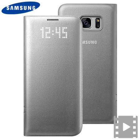 all the latest official samsung galaxy s7 edge led flip wallet cover silver