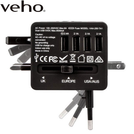 Veho Ta 1 Universal 4 Port Usb World Travel Mains Charger