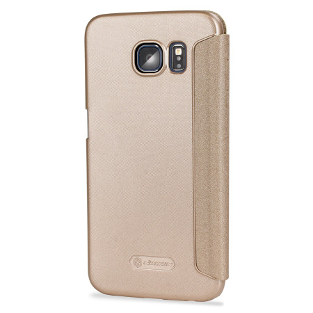 pozele, clipurile nillkin sparkle big view window samsung galaxy s6 case gold instant access the