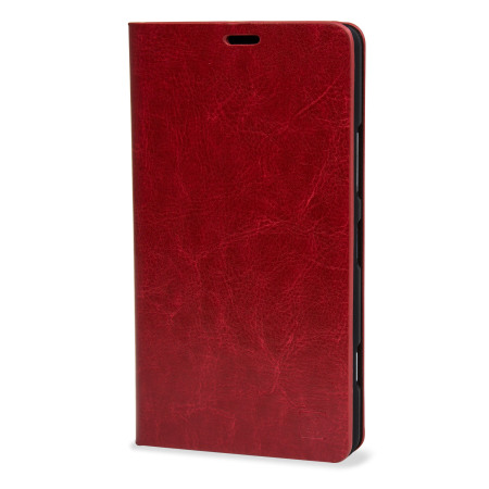 olixar leather style microsoft lumia 950 wallet case red