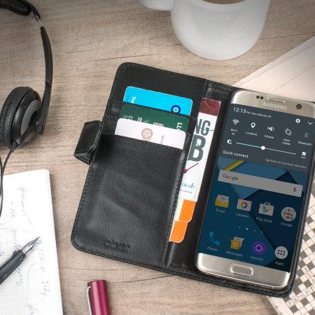 grand zte olixar genuine leather samsung galaxy s7 edge wallet case black smartphone incorporates