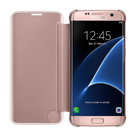 official samsung galaxy s7 edge clear view cover case rose gold mobilezap australia. Black Bedroom Furniture Sets. Home Design Ideas