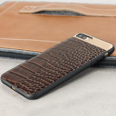 croco2 iphone 7 plus lederh lle case braun mobilefun. Black Bedroom Furniture Sets. Home Design Ideas