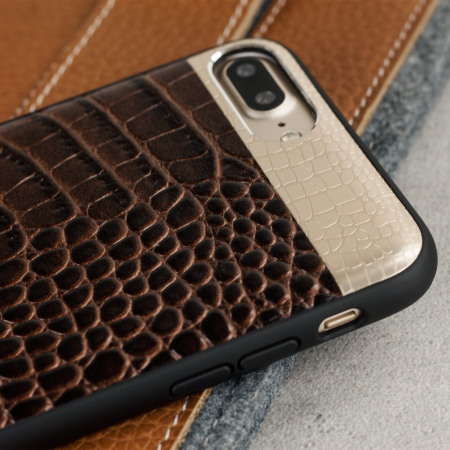 croco2 genuine leather iphone 7 plus case brown