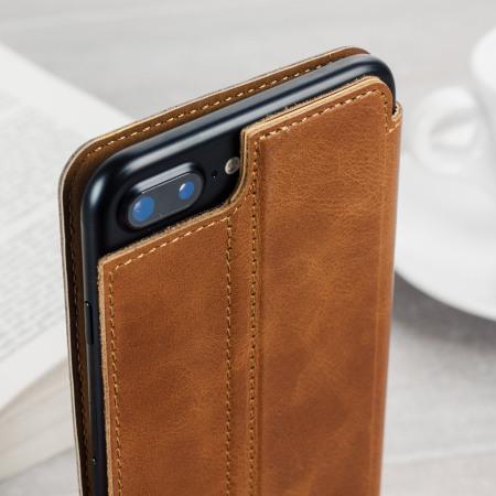Olixar slim genuine leather flip iphone 7 wallet case tan
